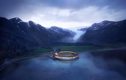 The hotel will be situated on the Holandsfjorden fjord at the foot of the Svartisen glacier / Plompmozes