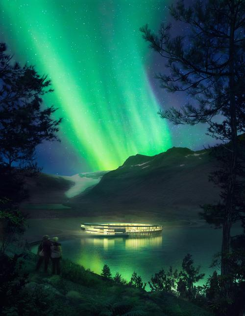Guest will have panoramic views of the fjord, the glacier and the Northern Lights / Plompmozes