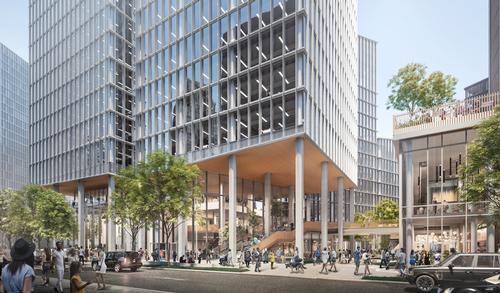 The Monrow Blocks project is a mix of office, retail and residential space / Hayes Davidson