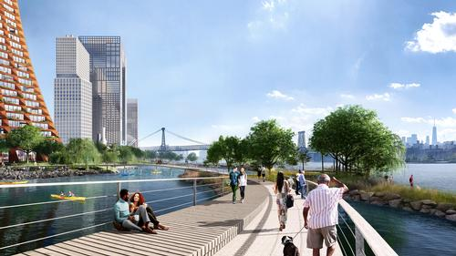 A circular esplanade will extend into the river / JCFO / BIG courtesy of Two Trees Management