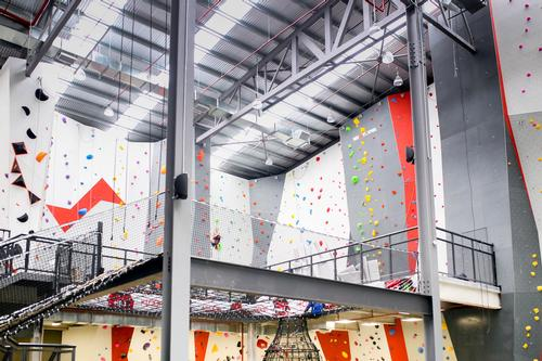 Around 978sq m (10,500sq ft) of the interior walls are fitted with climbing holds