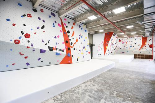 There is a 4.4m (14.4ft)-high bouldering wall