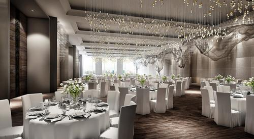 The Hotel offers indoor-outdoor event spaces including a dramatic Grand Ballroom for extraordinary occasions / Four Seasons