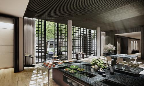 The Yu Ting Yuan Cantonese restaurant has a show kitchen led by Michelin-starred Chef Qui Xiaogui / Four Seasons