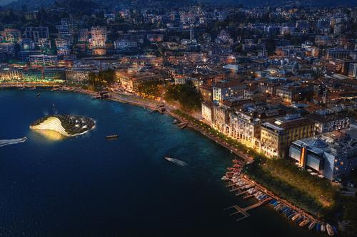 Lugano's waterfront is situated between the Swiss Alps and Lake Lugano / Carlo Ratti Associati