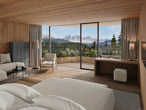 The suites will all have views of the mountain scenery / Forestis