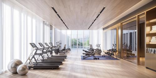 A fitness centre features TechnoGym equipment, a weight training area and an adaptable studio room