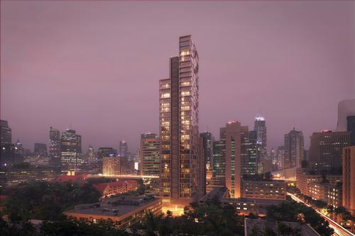 KPF's design for the tower comprises three stepped, vertical elements / Kohn Pedersen Fox