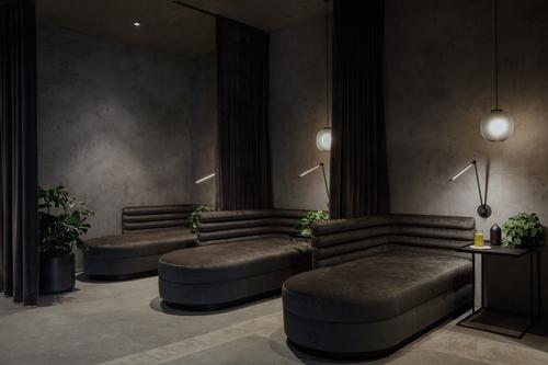 Semi-private IV lounges with luxurious seating provide comfortable spaces for rest and reflection during treatments