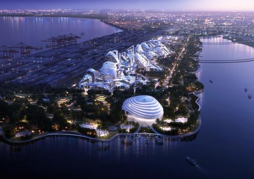 The campus would be built on a peninsula of land and laid out in as a grid of over 100 buildings / Atchain