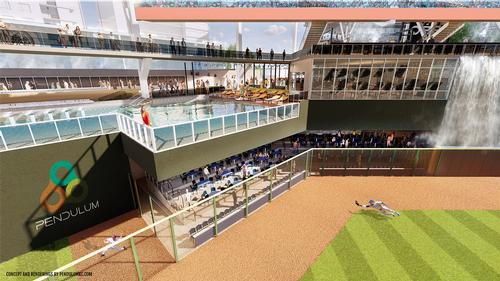 Views into the ballpark will provide added value for support amenities / Pendulum Studio