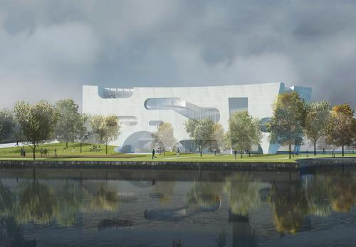 The Health Center contains a health education area, a pharmacy, consultation rooms, exam rooms, a physical therapy room, ultrasound and x-ray rooms and a nursery / Steven Holl Architects