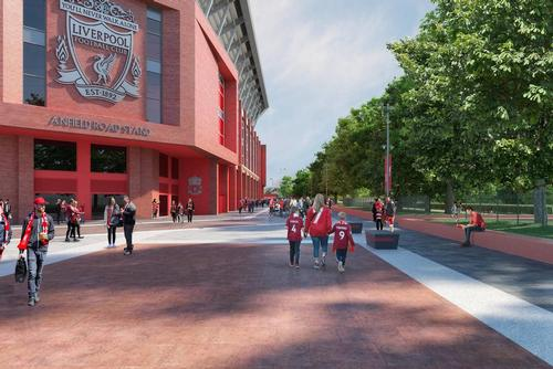 Anfield Road itself will be routed around the footprint of the proposed expanded stand / Liverpool FC