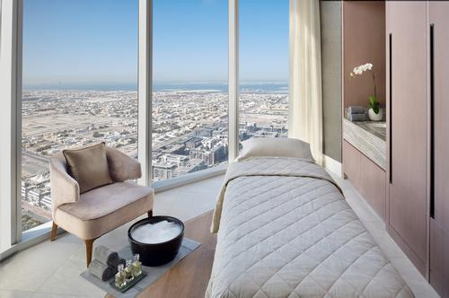 The spa is located on the 54th floor on the hotel's sky bridge, giving it 360-degree views of Dubai's skyline
