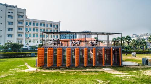 Louvers have been created from reused shipping container doors / Rahul Jain