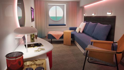 Sea View cabins are designed for solo travellers with super large single beds / Virgin Voyages