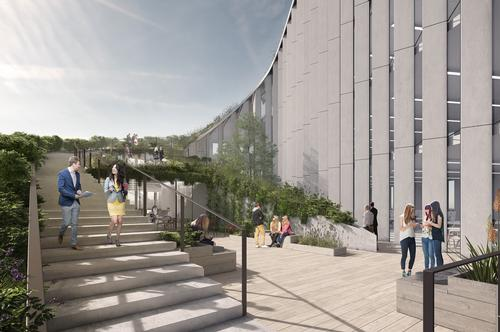 The rooftop will comprise a string of linear garden terraces / Bjarke Ingels Group