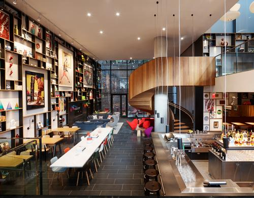 There will be lounge and restaurant spaces, like at the New York Bowery location pictured / citizenM
