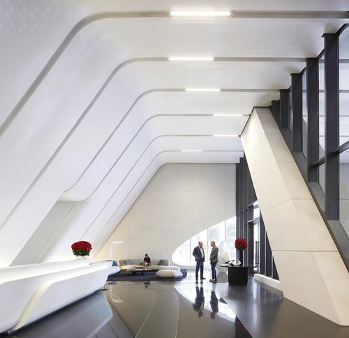 All private residences are accessed via high-speed elevators with destination-entry smart technology / Hufton+Crow