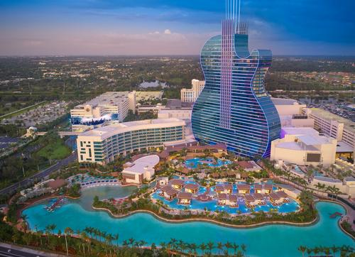 The hotel opened in October 2019 as part of a $1.5b (€1.4b, £1.2b) expansion of the Seminole resort / Hard Rock