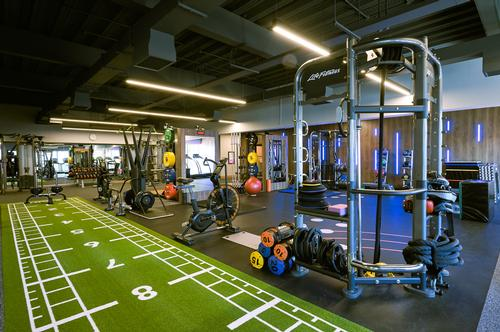 The newly revamped gym now features mobility and stretching massagers, treadmills, bikes and performance dumbbells