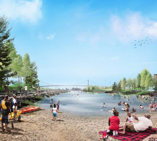 Detroit's Centennial Park will include a cove with a beach for swimming / Image: MVVA