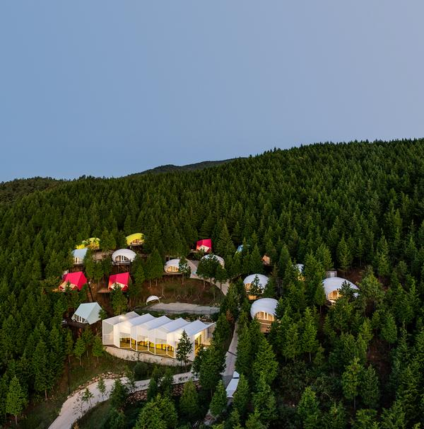 The SJCC Glamping Resort consists of 16 living units, an on-site restaurant and reception