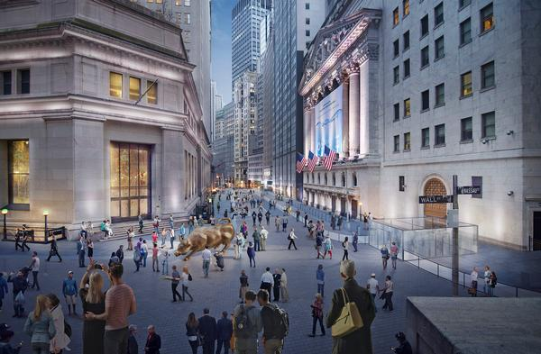 The architectural plan is to turn the area around the New York Stock Exchange into a greener, more pedestrian-friendly environment
