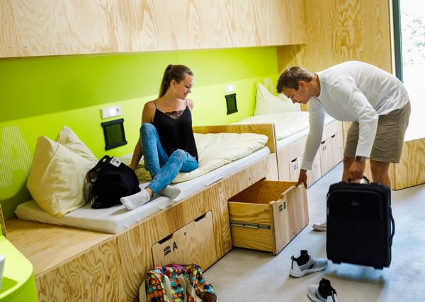 The rooms at the youth hostel in Bayreuth, Germany, are custom built for sharing