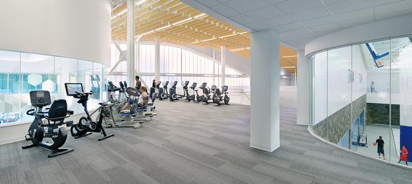 The centre features an 12,800sq ft gym. The curves of the building are echoed in the interior