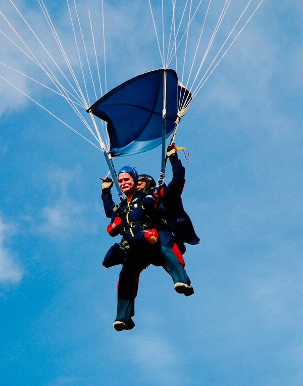 A charity skydive in 2015 with the Pilgrim Bandits