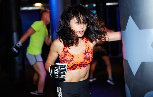 Rumble, the brand's boxing fitness class, is currently only available at Broadgate, where the studio houses 40 swinging punching bags