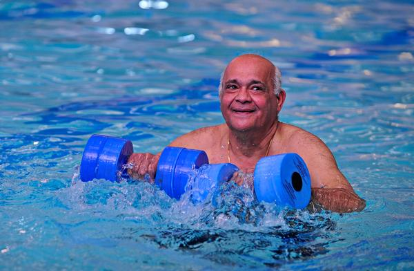 Whereas aqua aerobics classes are dominated by women, aqua health classes are also popular with men