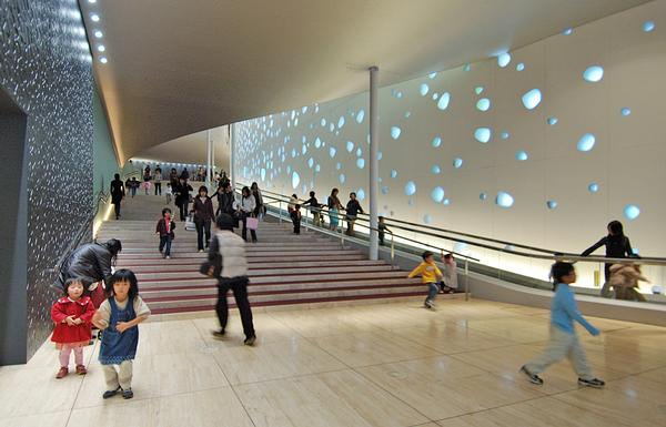 The foyer at the Matsumoto Performing Arts Centre