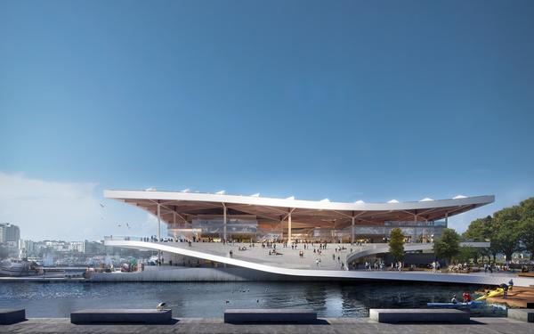 3XN recently unveiled designs for the new Sydney Fish Market. It features an open front and undulating roof