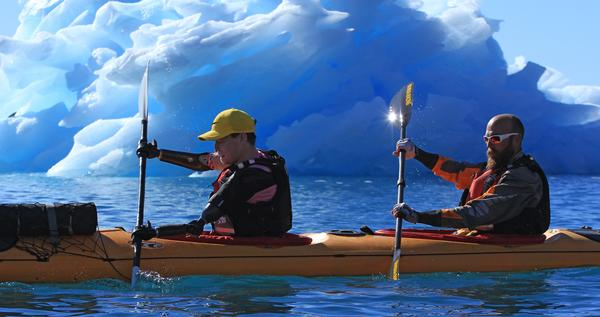 Lewis paddled 120 miles around Greenland to raise money for charity in 2016