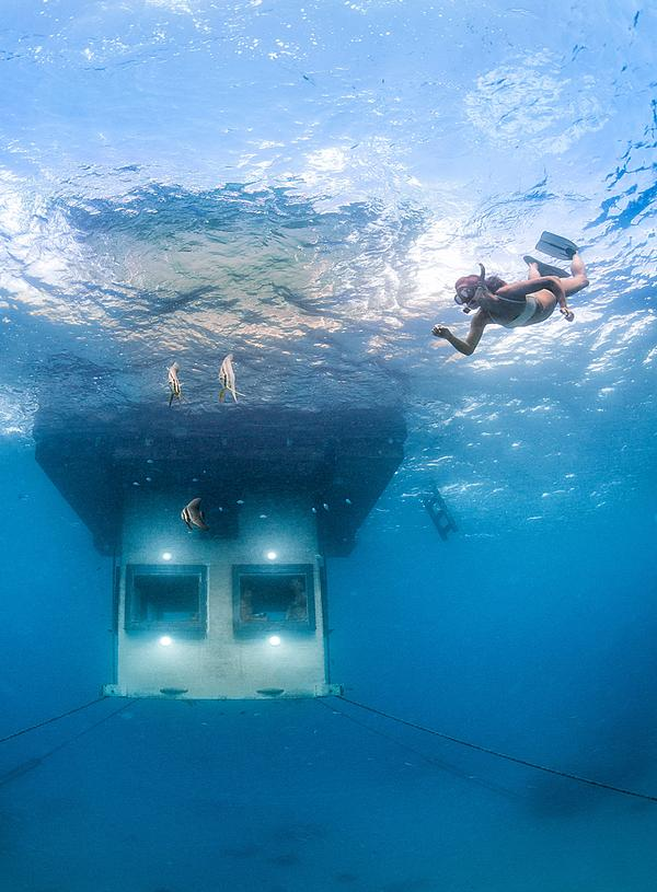 The Manta Resort in Zanzibar features an Underwater Room with a sea level landing deck and lounge and a submerged bedroom