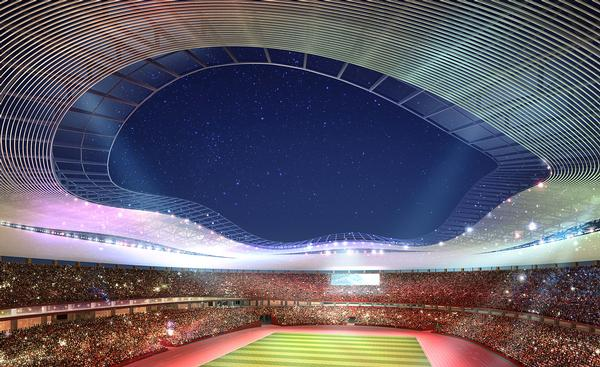 The New National Stadium designs were a joint venture between Ito, Nihon, Takenaka, Shimizu and Obayashi / Ito, Nihon, Takenaka, Shimizu, Obayashi