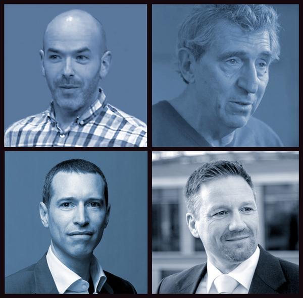 The keynote speakers, from top left, David Greenfield, David Patchell Evans, Jonathan Fisher and Karsten Hollasch