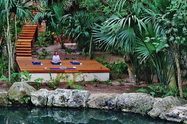 The spa and treatment rooms were designed around a natural cenote
