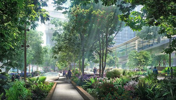 Taikoo Square features a series of terraces and two large pools