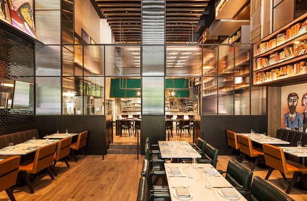 The Albert restaurant interiors playfully explore the world of the artist and scientist