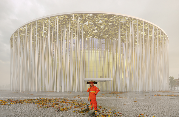 The slender white columns were inspired by indigenous bamboo forests