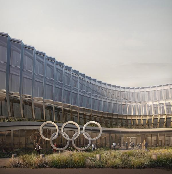 The design of the new HQ for the International Olympic Committee was inspired by the movement of athletes