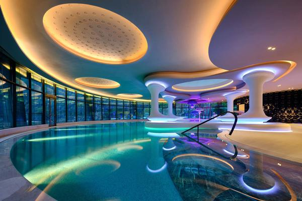 There is a pool and spa complex on the ground floor
