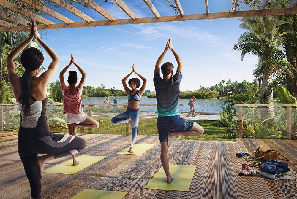 The development includes dedicated spaces for fitness and wellness activities