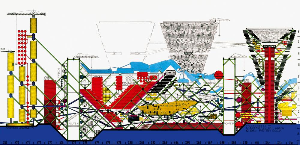 Cook's drawings for Plug-In City show a futuristic, constantly evolving city with modular units that 'plug in' to the central structure / Image ©Archigram Archives