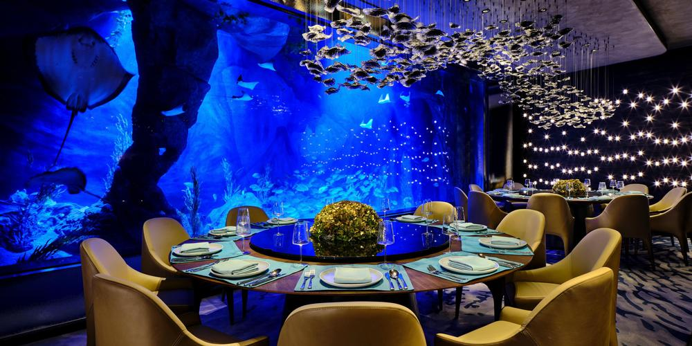 The hotel features an underwater restaurant and aquarium