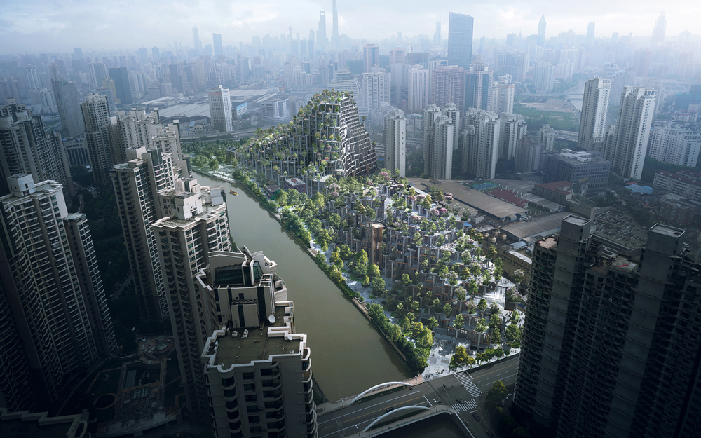 Heatherwick's 1000 Trees development in Shanghai, China / Image courtesy of MIR