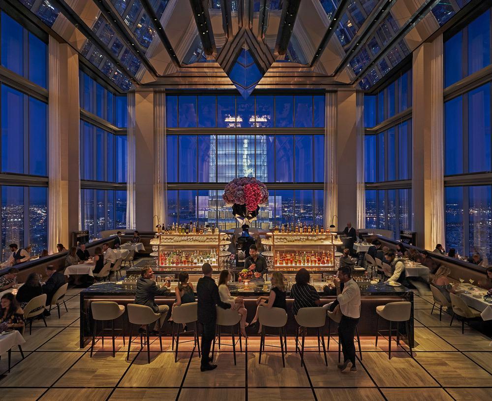 The Jean-Georges Vongerichten restaurant features 12m-high floor-to-ceiling windows